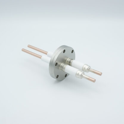 2 pin high voltage feedthrough 12000V / 55 Amp. Nickel conductor, DN40CF flange