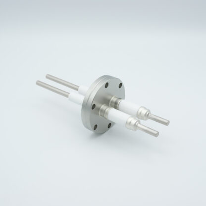 2 pin high voltage feedthrough 12000V / 7 Amp. Stainless steel conductor, DN40CF flange