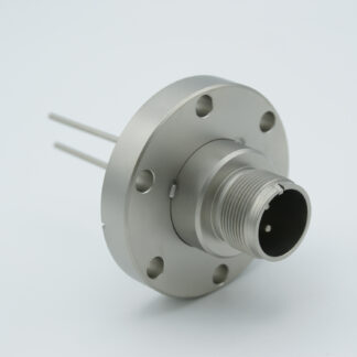 2 pin feedthrough with air-side connector 700Volt / 23 Amp. DN40CF flange, Nickel conductor
