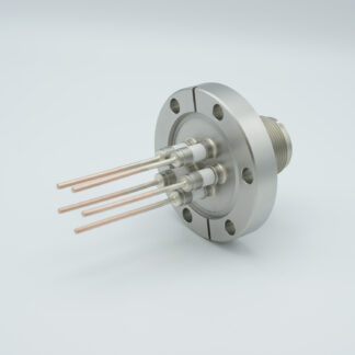 5 pin feedthrough with air-side connector 700Volt / 23 Amp. DN40CF flange, Copper conductor