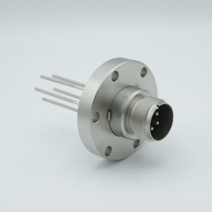 5 pin feedthrough with air-side connector 700Volt / 23 Amp. DN40CF flange, Nickel conductor
