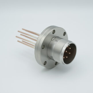 8 pin feedthrough with air-side connector 700Volt / 23 Amp. DN40CF flange, Copper conductor