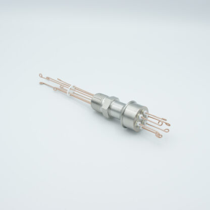 """3 pair Thermocouple type-N feedthrough with both side connectors included, NPT 1/2"""" flange"""