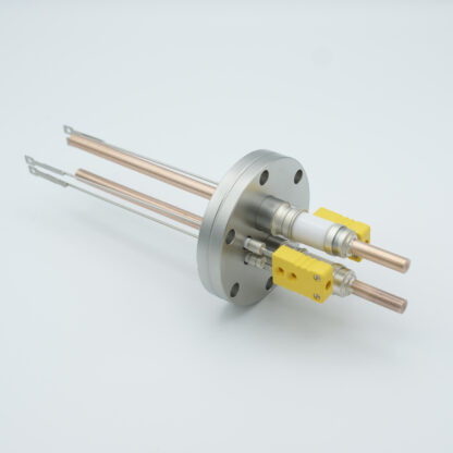 2 pair Thermocouple type-K and 1 pair copper feedthrough 5000V, with TC connectors included, DN40CF flange
