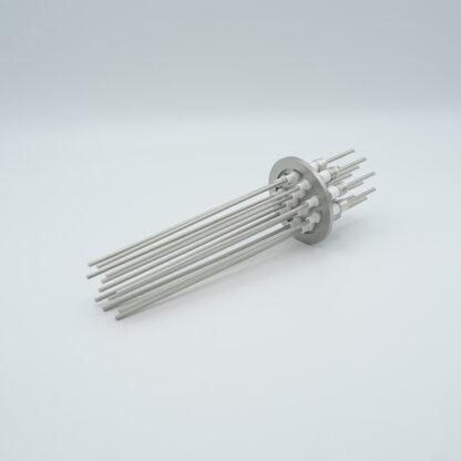 12 pin Molybdenum conductor feedthrough 5000Volt / 28 Amp. DN40KF flange