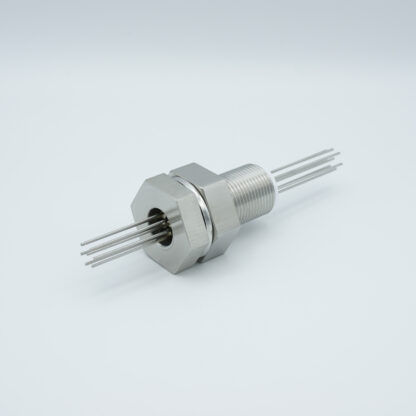 2 pin stainless steel conductor feedthrough 1000Volt / 1 Amp. base plate fitting