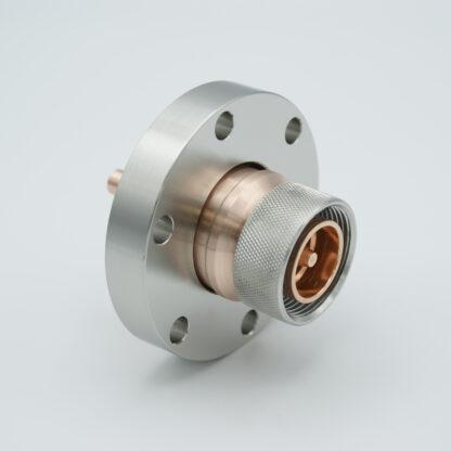"7/16"" DIN Coaxial Feedthrough 50ohm DC to 7.5 GHz 2700 VRM 100 Watt DN40CF Flange"