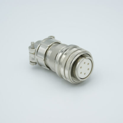 "MS circular UHV connector, 6 pins, 700 Volts, 10 Amp per pin, accepts 0.056"" or 0.062"" dia pins"
