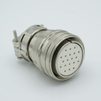 "MS series UHV connector, 20 pins, 700 Volts, 10 Amp per pin, accepts 0.056"" or 0.062"" dia pins"