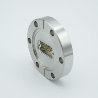 51 pin micro-D high density UHV feedthrough. Gold plated Be-Cu alloy pins. DN40CF flange