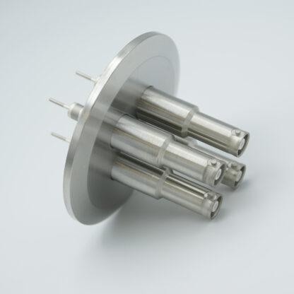 4 of grounded shield exposed SHV-10, 5 Amp 10000 VDC feedthrough, DN50KF