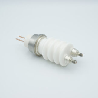 2 pin high voltage feedthrough 30000V / 50 Amp. Copper conductor weld fitting