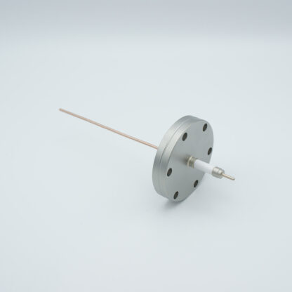 1 pin feedthrough with power glove connector 10000Volt / 30 Amp. Copper conductor, DN40CF flange