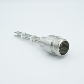 4 pin feedthrough with air side connector and molybdenum conductor, 700V / 28 Amp, weld fitting