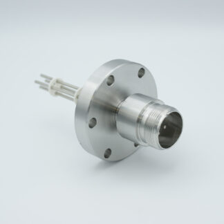 4 pin feedthrough with air side connector and molybdenum conductor, 700V / 28 Amp, DN40CF flange