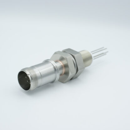 10 pin double ended feedthrough with both side connectors, 700V / 10 Amp, 1 inch base plate fitting