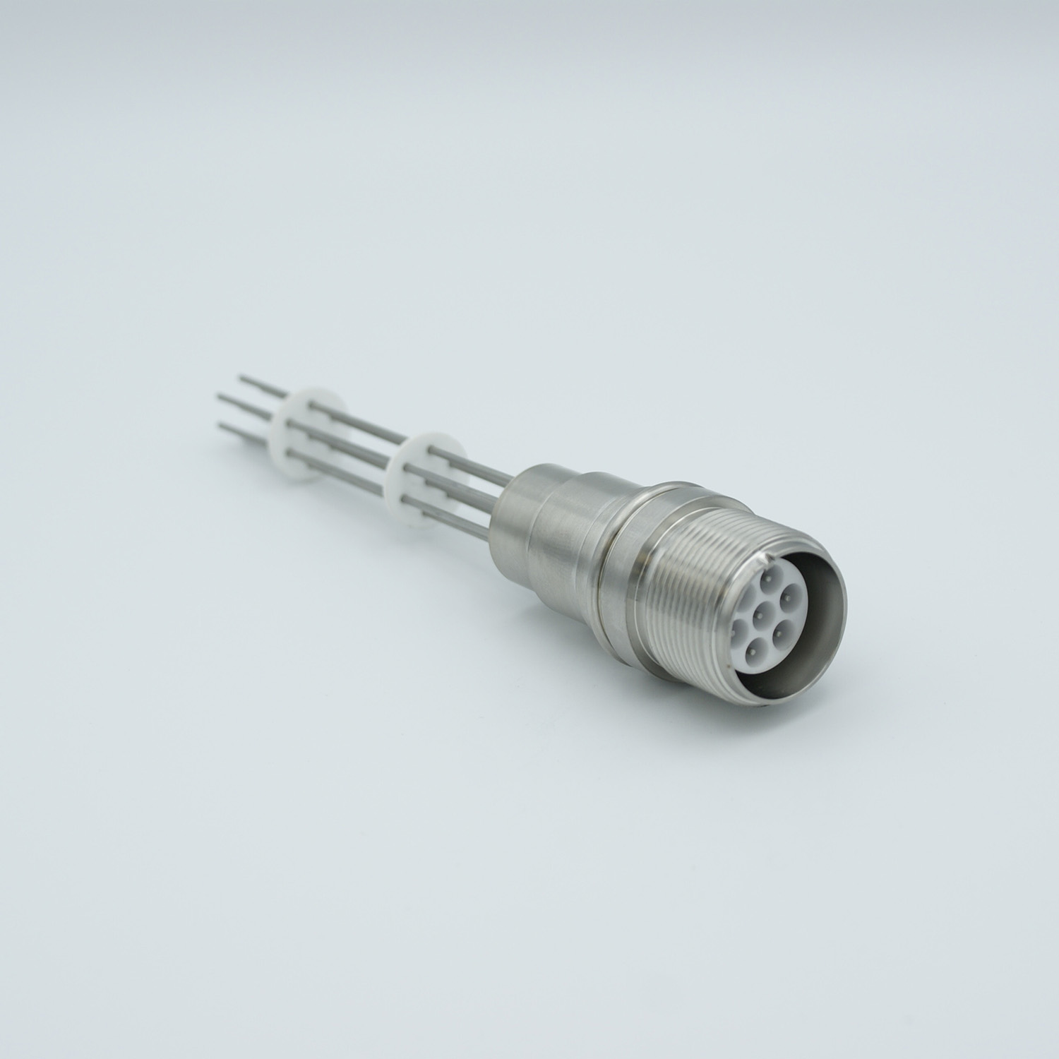 7 pin MS style MIL-C-5015 feedthrough with air side connector, molybdenum conductor, 12000V / 7,5 Amp, weld fitting