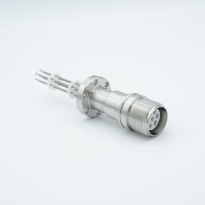 7 pin MS high voltage feedthrough according MIL-C-5015, Molybdenum conductors, DN19CF flange