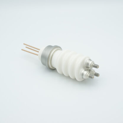 3 pin high voltage feedthrough 25000V / 3 Amp. Stainless steel conductor weld fitting