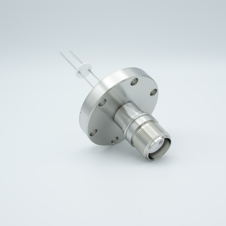 2 pin MS high voltage feedthrough according MIL-C-5015, Molybdenum conductors, DN40CF flange