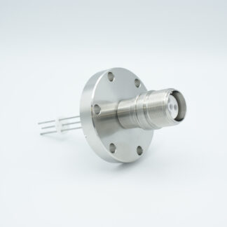 4 pin MS high voltage feedthrough according MIL-C-5015, Molybdenum conductors, DN40CF flange