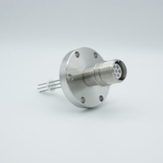 7 pin MS high voltage feedthrough according MIL-C-5015, Molybdenum conductors, DN40CF flange