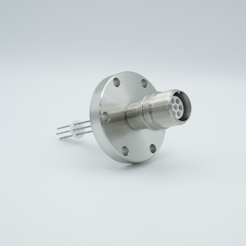 7 pin MS high voltage feedthrough according MIL-C-5015, Molybdenum conductors, DN40CF flange