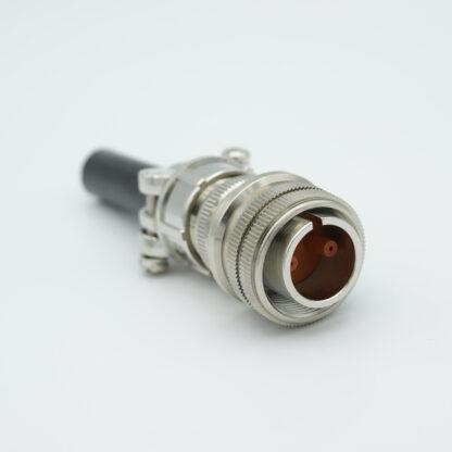 """2 pin MS circular connector, 12000 Volts, 7.5 Amp per pin, accepts 0.040"""" dia. Pins, (per MIL-C-5015)"""