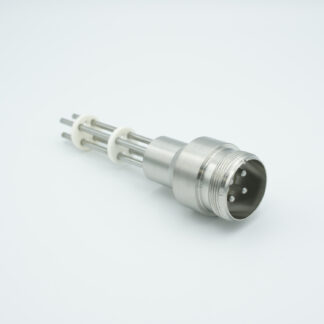 4 pin feedthrough with air side connector and nickel conductor, 700V / 25 Amp, weld fitting