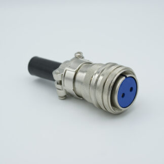 "2 pin MS circular air-side connector, 700 Volts, 40 Amp per pin, accepts 0.142"" dia. pins"