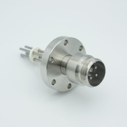 4 pin feedthrough with air side connector and nickel conductor, 700V / 25 Amp, DN40CF flange