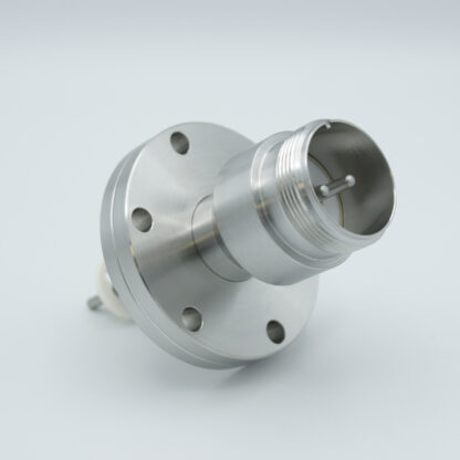 2 pin feedthrough with air side connector and nickel conductor, 700V / 25 Amp, DN40CF flange