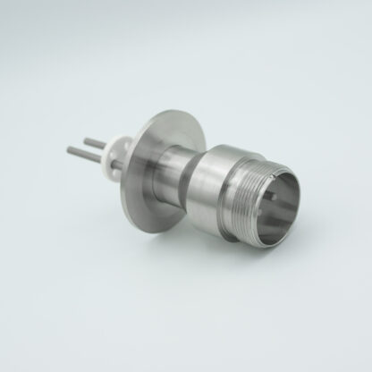 2 pin feedthrough with air side connector and nickel conductor, 700V / 25 Amp, DN40KF flange