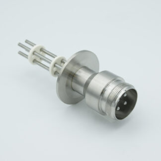 4 pin feedthrough with air side connector and nickel conductor, 700V / 25 Amp, DN40KF flange