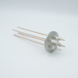 4 pin high voltage feedthrough with power glove connector 5000V / 30 Amp. Copper conductor, DN40KF flange