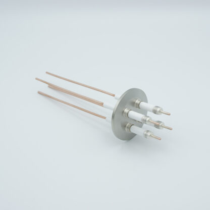 4 pin high voltage feedthrough with power glove connector 10000V / 30 Amp. Copper conductor, DN40KF flange