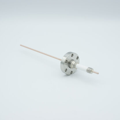 1 pin high voltage feedthrough with power glove connector 20000V / 30 Amp. Copper conductor, DN19CF flange