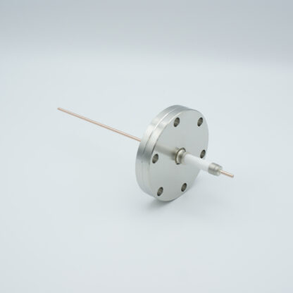 1 pin high voltage feedthrough with power glove connector 20000V / 30 Amp. Copper conductor, DN40CF flange
