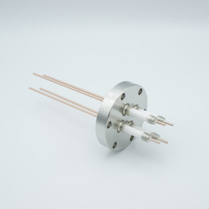 4 pin high voltage feedthrough with power glove connector 20000V / 30 Amp. Copper conductor, DN40CF flange