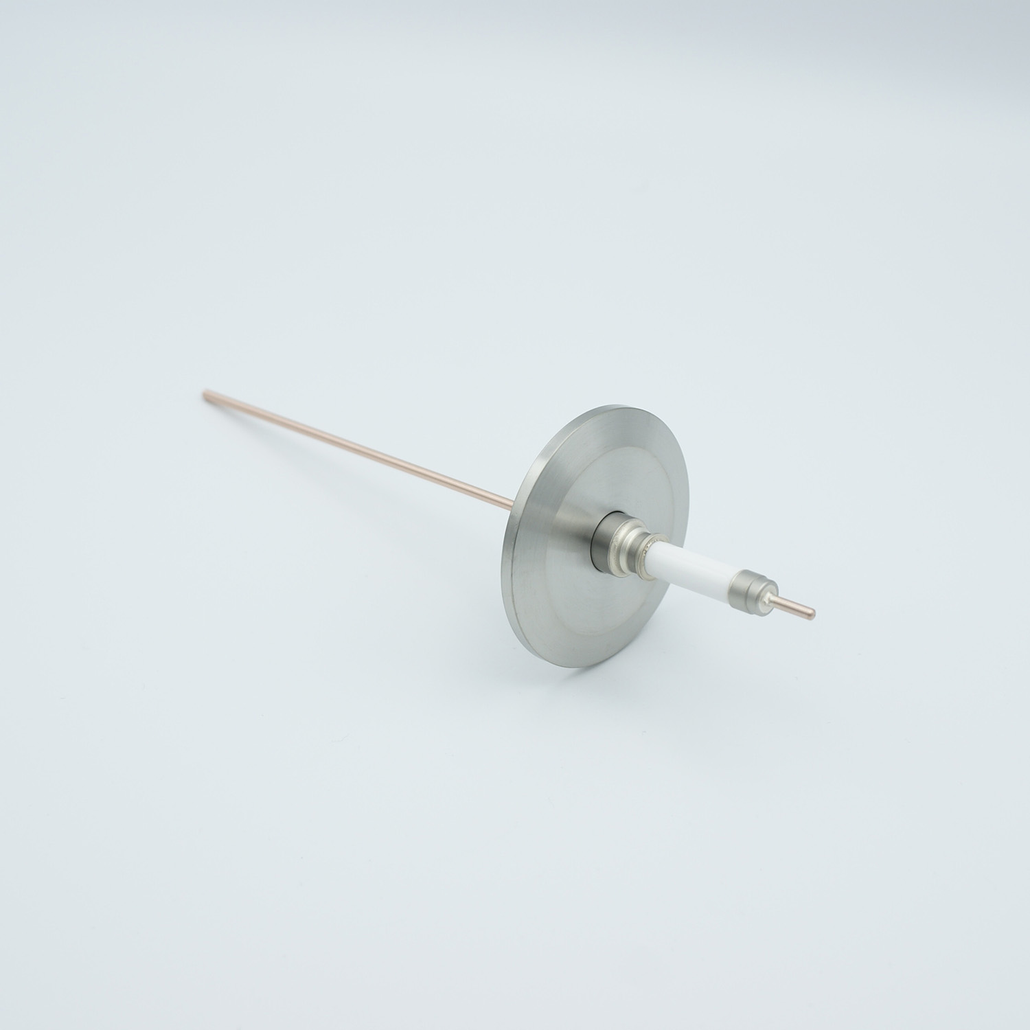 1 pin high voltage feedthrough with power glove connector 20000V / 30 Amp. Copper conductor, DN40KF flange