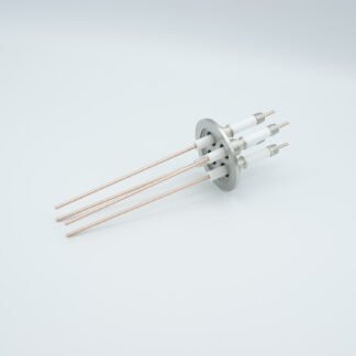 4 pin high voltage feedthrough with power glove connector 20000V / 30 Amp. Copper conductor, DN40KF flange
