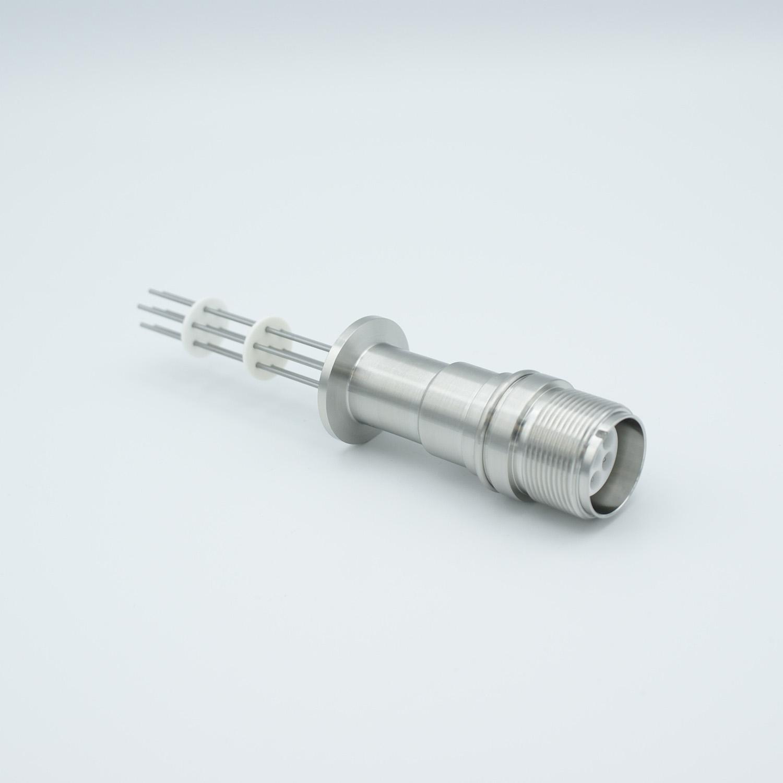 7 pin MS high voltage feedthrough according MIL-C-5015, Molybdenum conductors, DN16KF flange