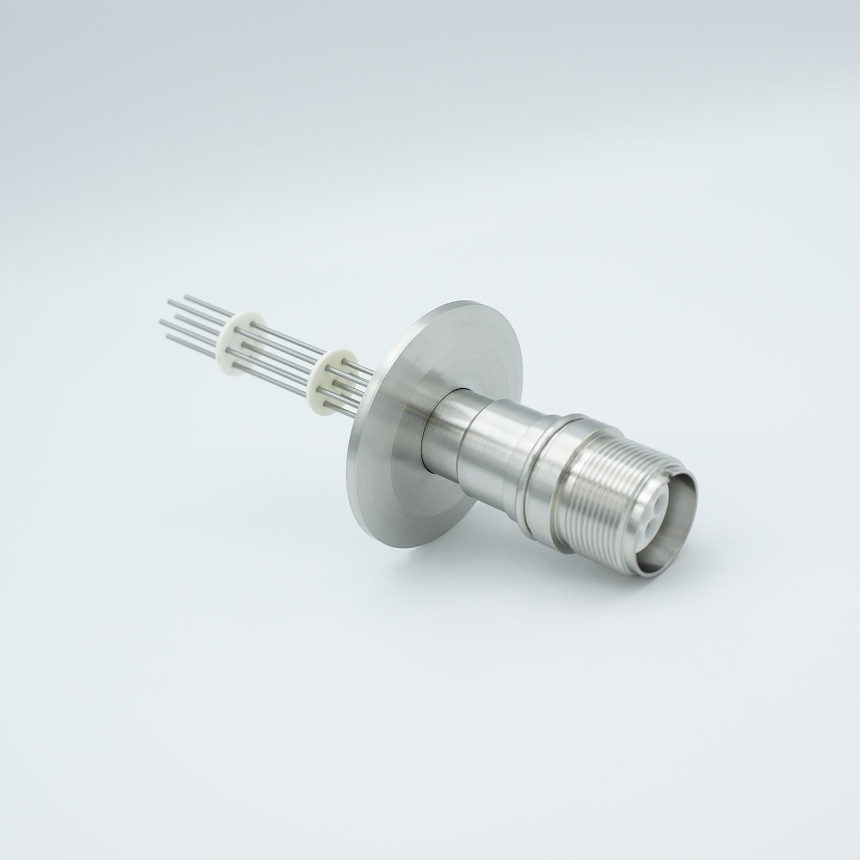7 pin MS high voltage feedthrough according MIL-C-5015, Molybdenum conductors, DN40KF flange