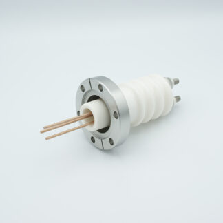 3 pin high voltage feedthrough 25000V / 50 Amp. Copper conductor DN40CF flange