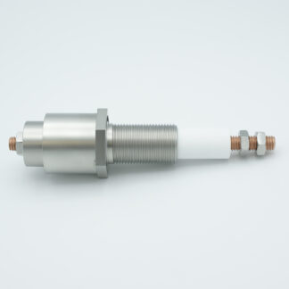 "Power feedthrough 10000 Volt 1/4-28 Threaded Stud. Stainless steel weld adapter 0.622"" diameter"