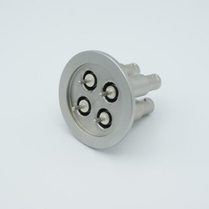 4 of grounded shield recessed SHV-5 Amp 5000 VDC feedthrough, air side connector included DN40KF
