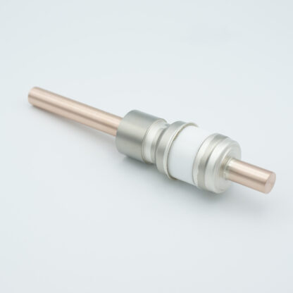 1 pin high voltage feedthrough 8000V / 450 Amp. Copper conductor, weld fitting