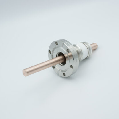 1 pin high voltage feedthrough 8000V / 450 Amp. Copper conductor, DN40CF flange