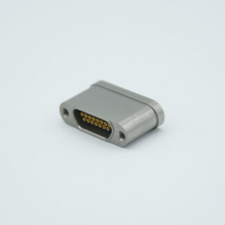9 pin micro-D high density UHV feedthrough. Gold plated Be-Cu alloy pins. weld fitting