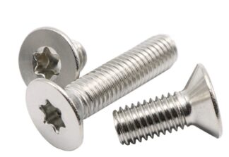 Metric vented Torx flat head screw, M4 x 8mm, silver plated